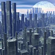 Futuristic City - 3d Render Art Print