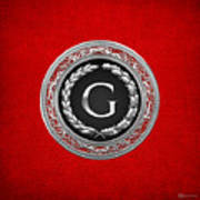G - Silver Vintage Monogram On Red Leather Art Print