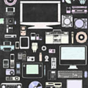 Gadgets Icon Art Print by Setsiri Silapasuwanchai