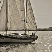 Gaff Rigged Ketch Cutter Sailing The Charleston Harbor Art Print