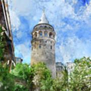 Galata Tower In Istanbul Tukey Art Print