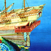 Galleon On The Reef 2 Filtered Art Print