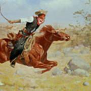 Galloping Horseman Art Print