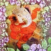 Ganesh In Dancing Pose With Floral Backdrop. Art Print