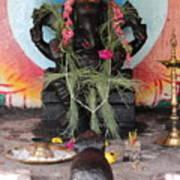 Ganesha With Pink Flowers, Valparai Art Print