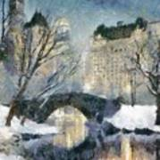 Gapstow Bridge In Snow Art Print