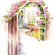 Garden Gate Botanical Landscape Art Print