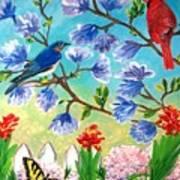Garden View Birds And Butterfly Art Print