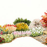 Garden Wild Flowers Watercolor Art Print