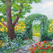 Garden With Sunflowers Art Print