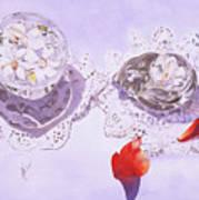 Gardenias And Lace Art Print