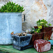 Gardening Pots And Small Shovel Against Stone Wall In Primosten, Croatia Art Print