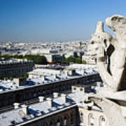 Gargoyle Guarding The Notre Dame Basilica In Paris Art Print