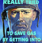 Gas Conservation Ww2 Poster Art Print