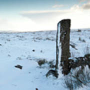 Gatepost In The Snow Art Print