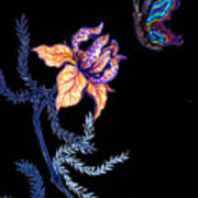 Gathering Nectar On Black Art Print