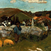 Gauguin: Swineherd, 1888 Art Print