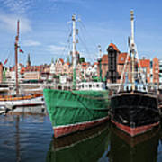 Gdansk Old Town Skyline From The Harbour Art Print