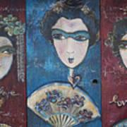 Geisha Love Triptych Art Print