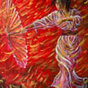 Geisha - Rain Dance 02 Art Print