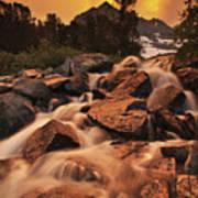 Gem Lakes Cascade Sunset Art Print