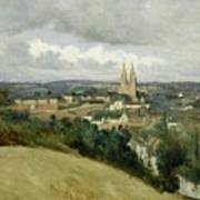 General View Of The Town Of Saint Lo Art Print by Jean Corot