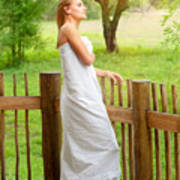 Gentle Woman Standing On The Porch  Art Print