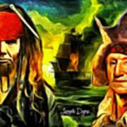 George Washington And Abraham Lincoln The Pirates Art Print