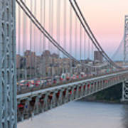 George Washington Bridge And Lighthouse I Art Print