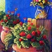 Geraniums And Talavera Art Print