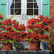 Geraniums On The Porch Art Print