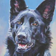 German Shepherd Black Art Print