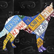 German Shepherd Dog Pet Owner Love Vintage Recycled License Plate Artwork Art Print