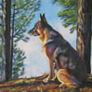 German Shepherd Lookout Art Print by Lee Ann Shepard