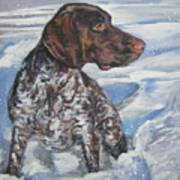 German Shorthaired Pointer In The Snowdrift Art Print