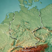 Topographical Map Of Germany.Germany Country 3d Render Topographic Map Border Digital Art By