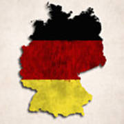 Germany Map Art With Flag Design Art Print