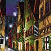 Germany Ulm Old Street Night Moon Art Print