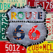 Get Your Kicks On Route 66 Recycled Vintage State License Plate Art By Design Turnpike Art Print