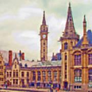 Ghent Canal Scene 2 Art Print