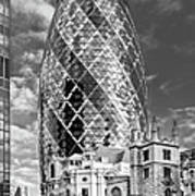 Gherkin And St Andrew's Black And White Art Print