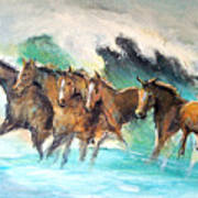 Ghost Horses In Maui Shorebreak Art Print