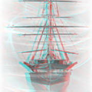 Ghost Ship - Use Red-cyan 3d Glasses Art Print
