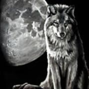 Gibbous Wolf Art Print