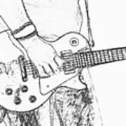 Gibson Les Paul Guitar Sketch Art Print