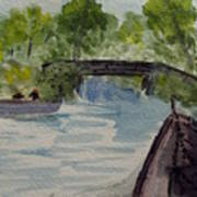 Giethoorn Boat Approaches Bridge Art Print