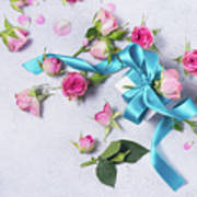 Gift And Flowers Art Print