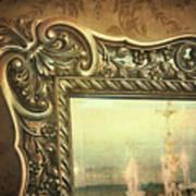 Gilded Mirror Reflection Of Chandelier Art Print