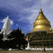 Gilded Stupa Of The Shwezigon Pagoda Art Print by Sami Sarkis