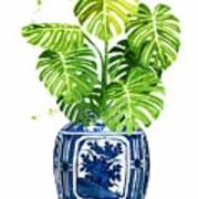 Ginger Jar Vase 1 With Monstera Art Print